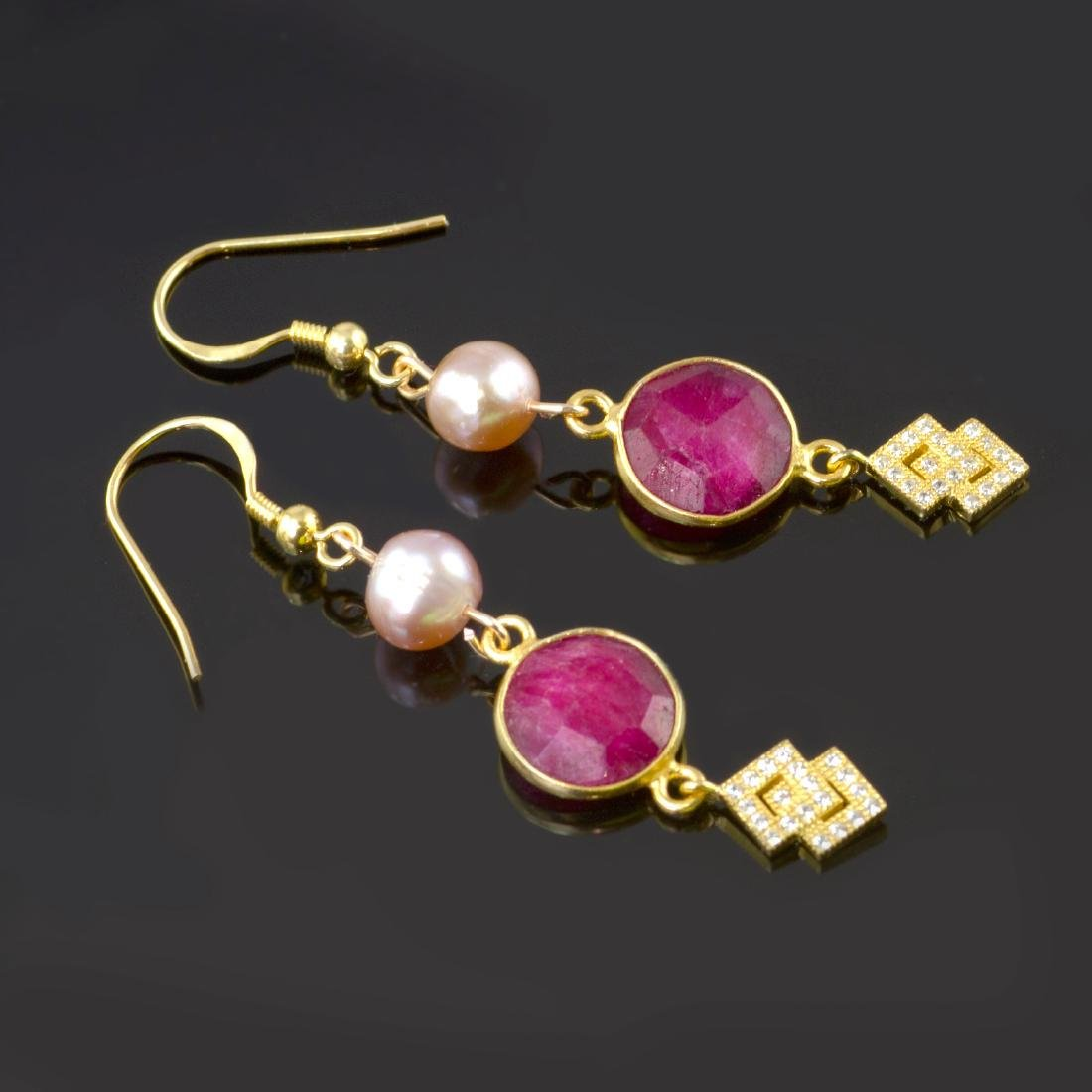 Ruby 5 carat Earrings with Pearls - 3