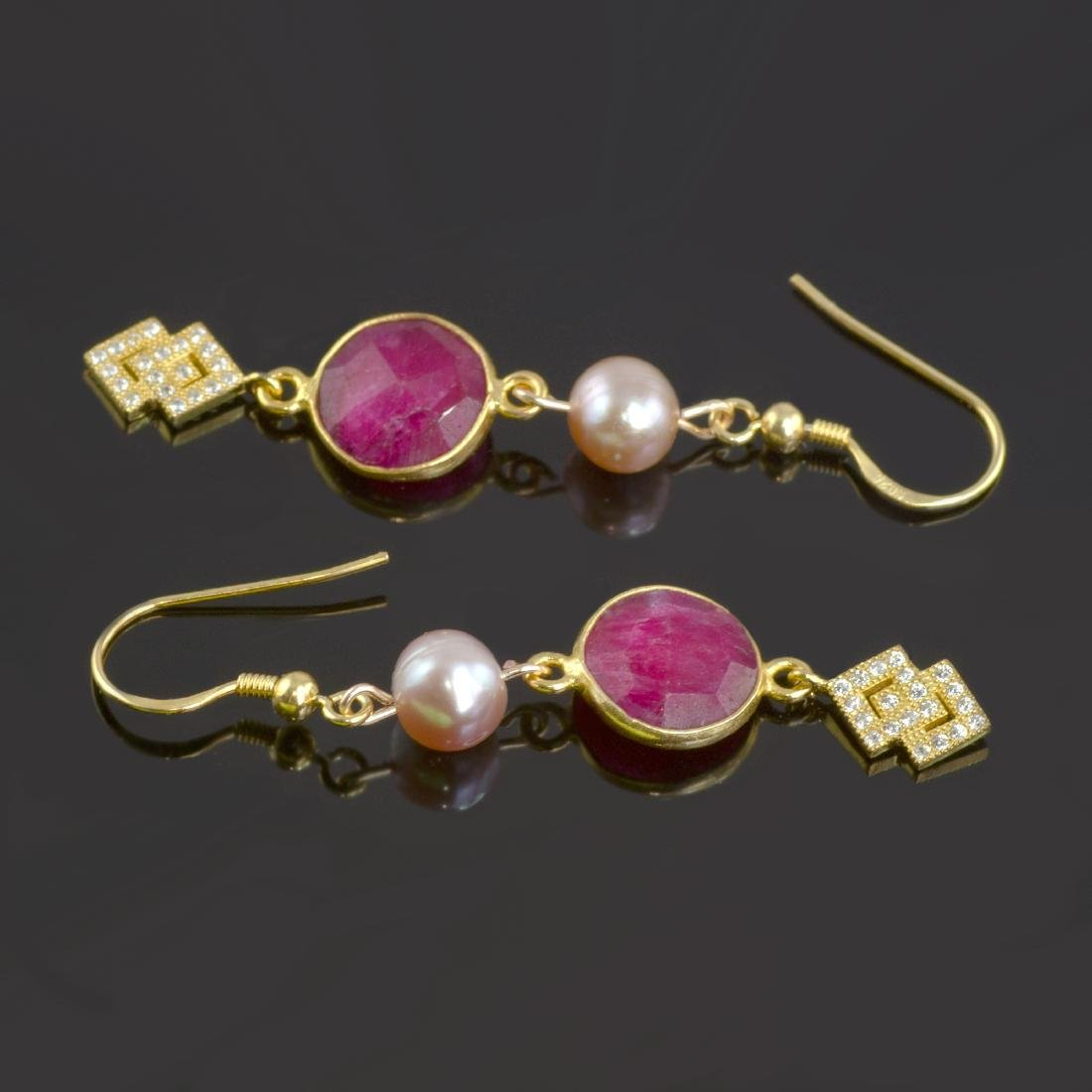 Ruby 5 carat Earrings with Pearls - 4