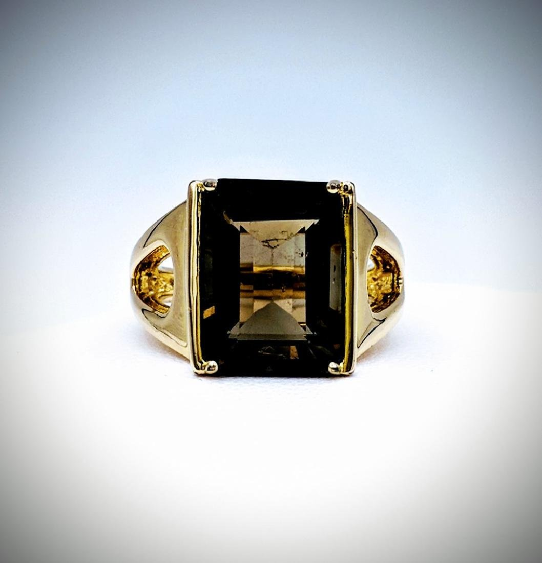 Gold Plated Sterling Silver Smoky Quartz Ring, 8.48ct