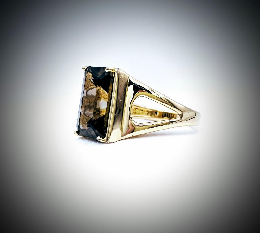 Gold Plated Sterling Silver Smoky Quartz Ring, 8.48ct - 3