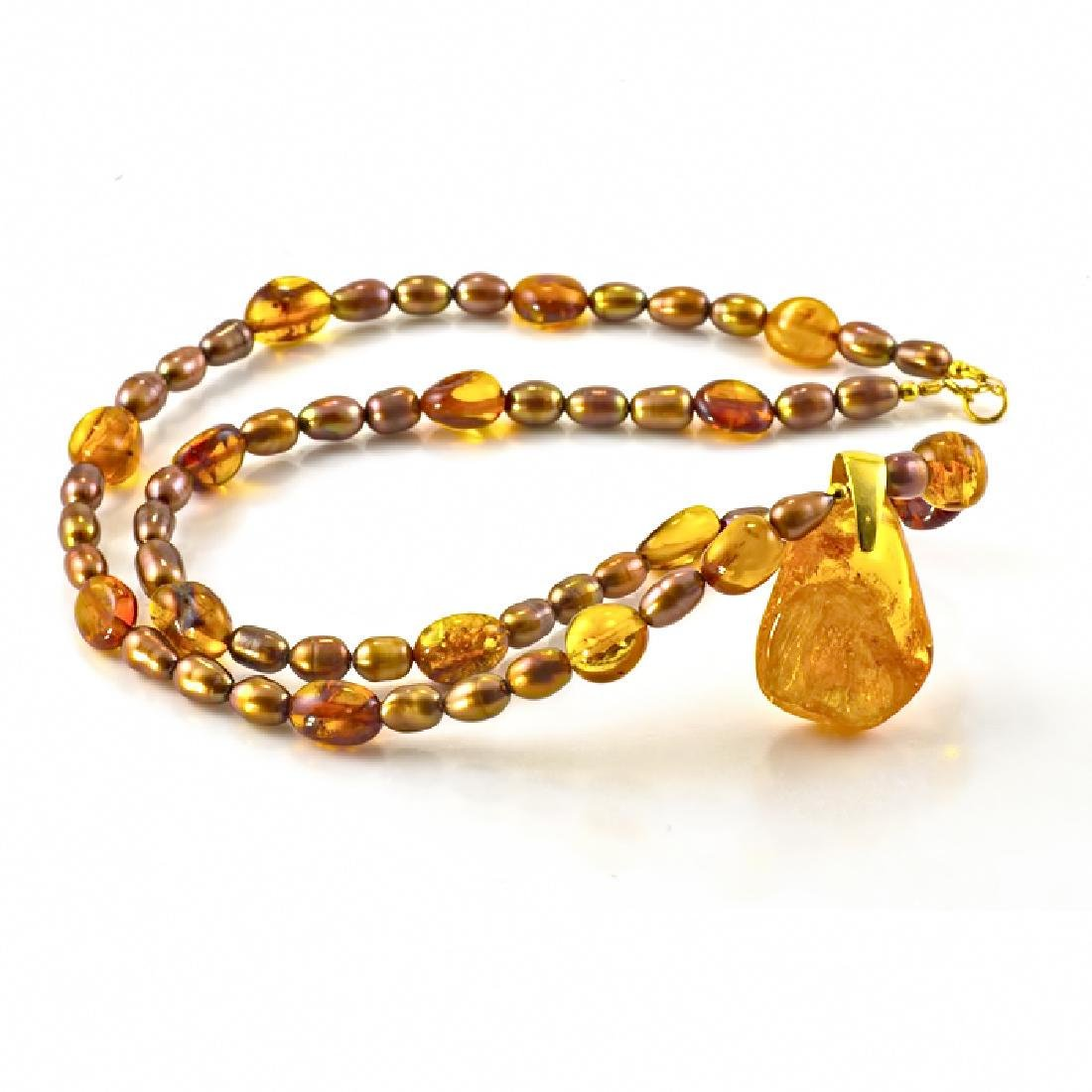 Golden Bronze Pearl and Amber necklace with Amber