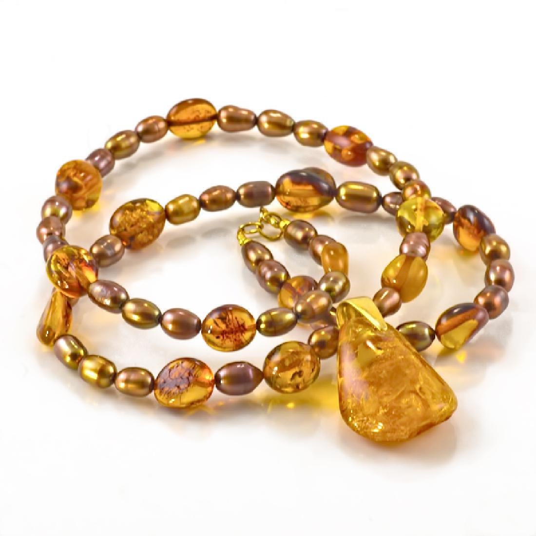 Golden Bronze Pearl and Amber necklace with Amber - 2