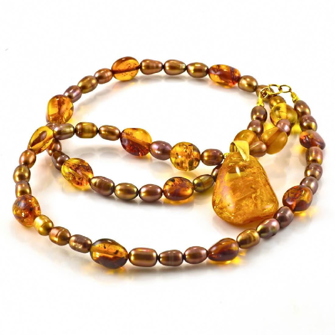 Golden Bronze Pearl and Amber necklace with Amber - 3