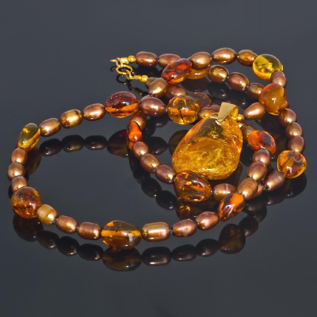 Golden Bronze Pearl and Amber necklace with Amber - 4