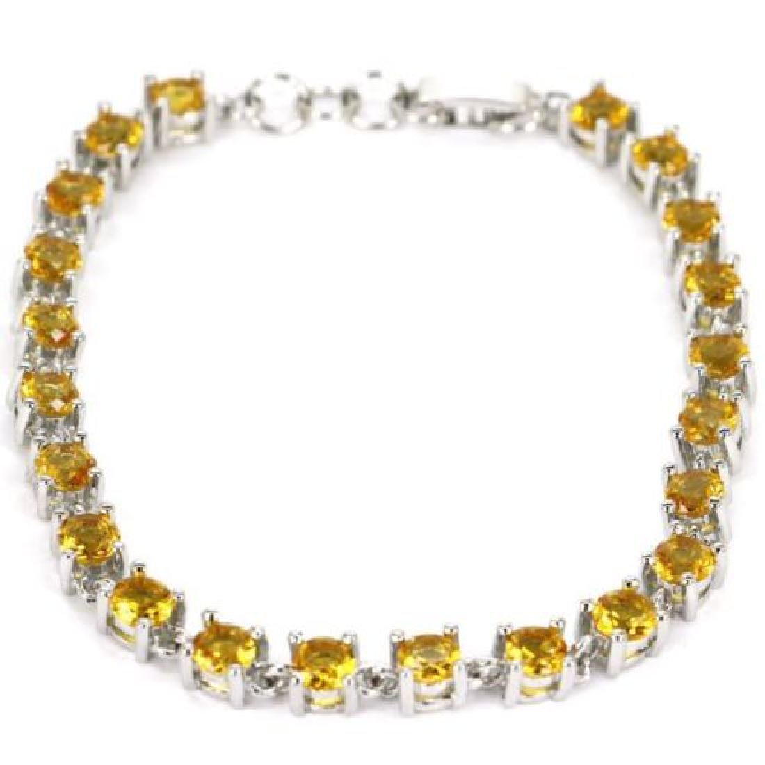 Gorgeous Golden Citrine, White CZ Silver Bracelet