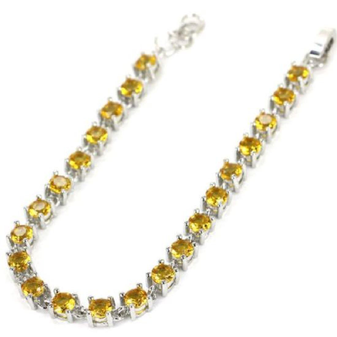 Gorgeous Golden Citrine, White CZ Silver Bracelet - 2