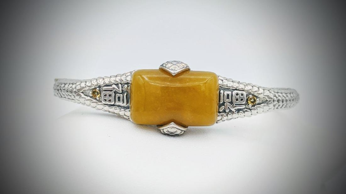 Sterling Silver Yellow Jade Citrine Bangle Bracelet