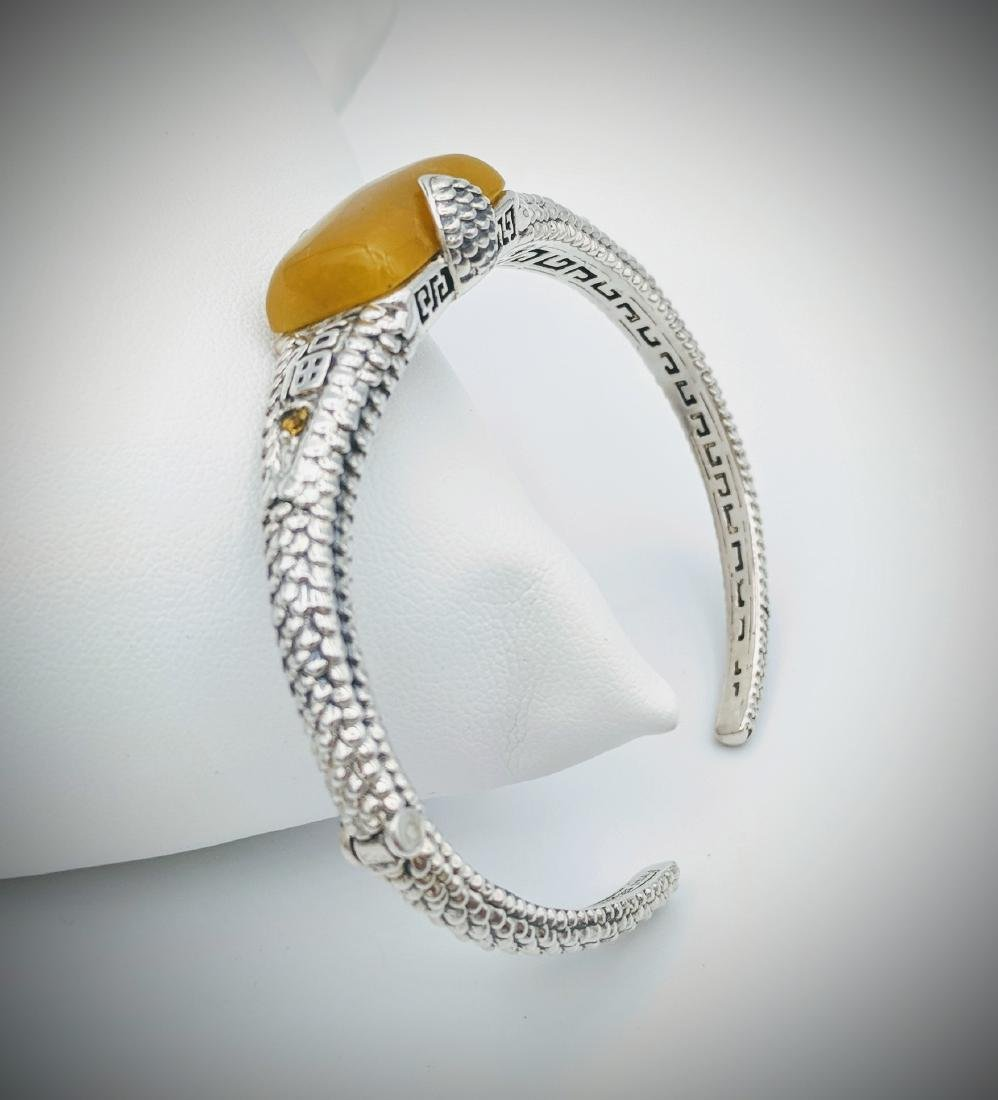 Sterling Silver Yellow Jade Citrine Bangle Bracelet - 2