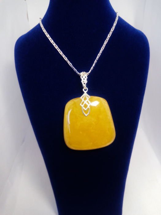 Natural Baltic Amber pendant egg yolk colour, silver