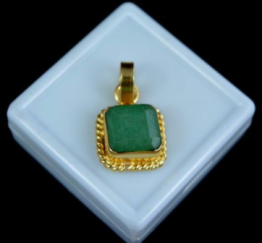 10.55 Ct Natural Emerald Gold Plated Pendant IGL