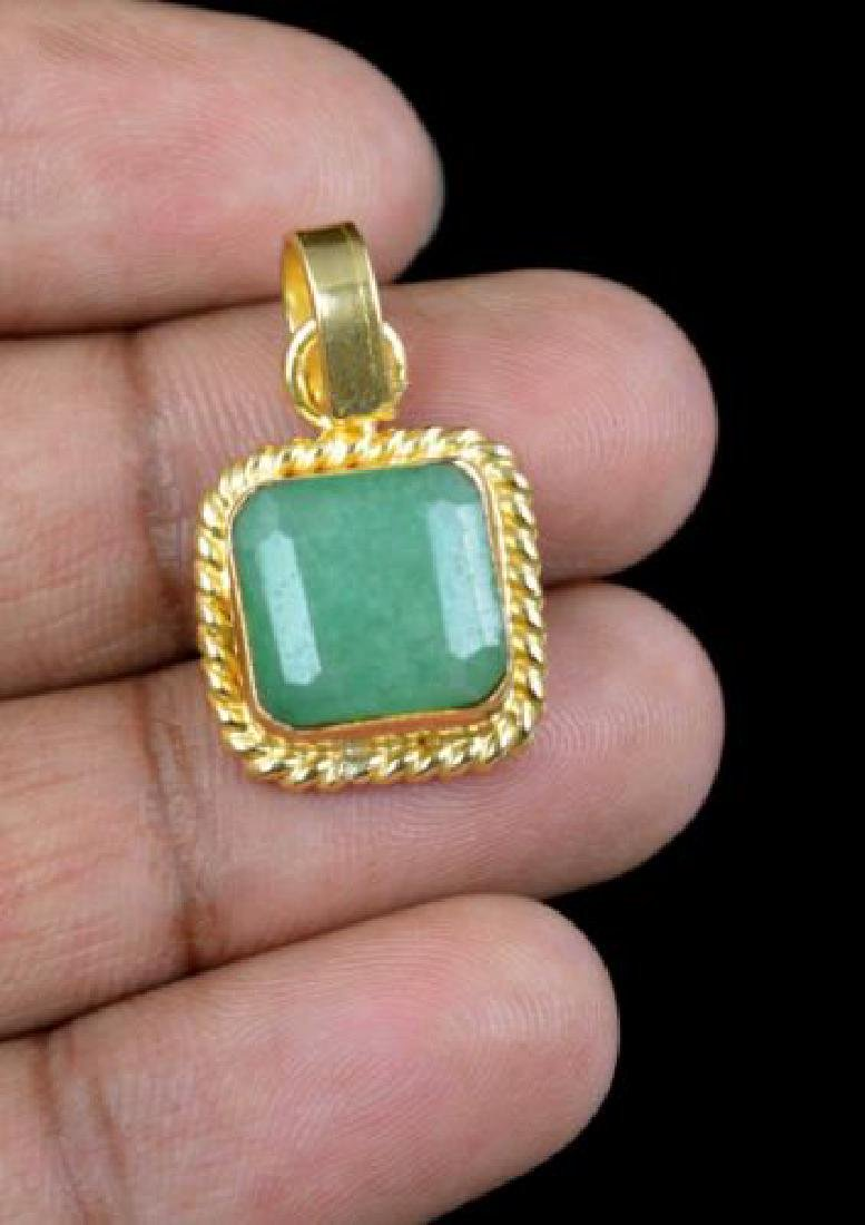 10.55 Ct Natural Emerald Gold Plated Pendant IGL - 2