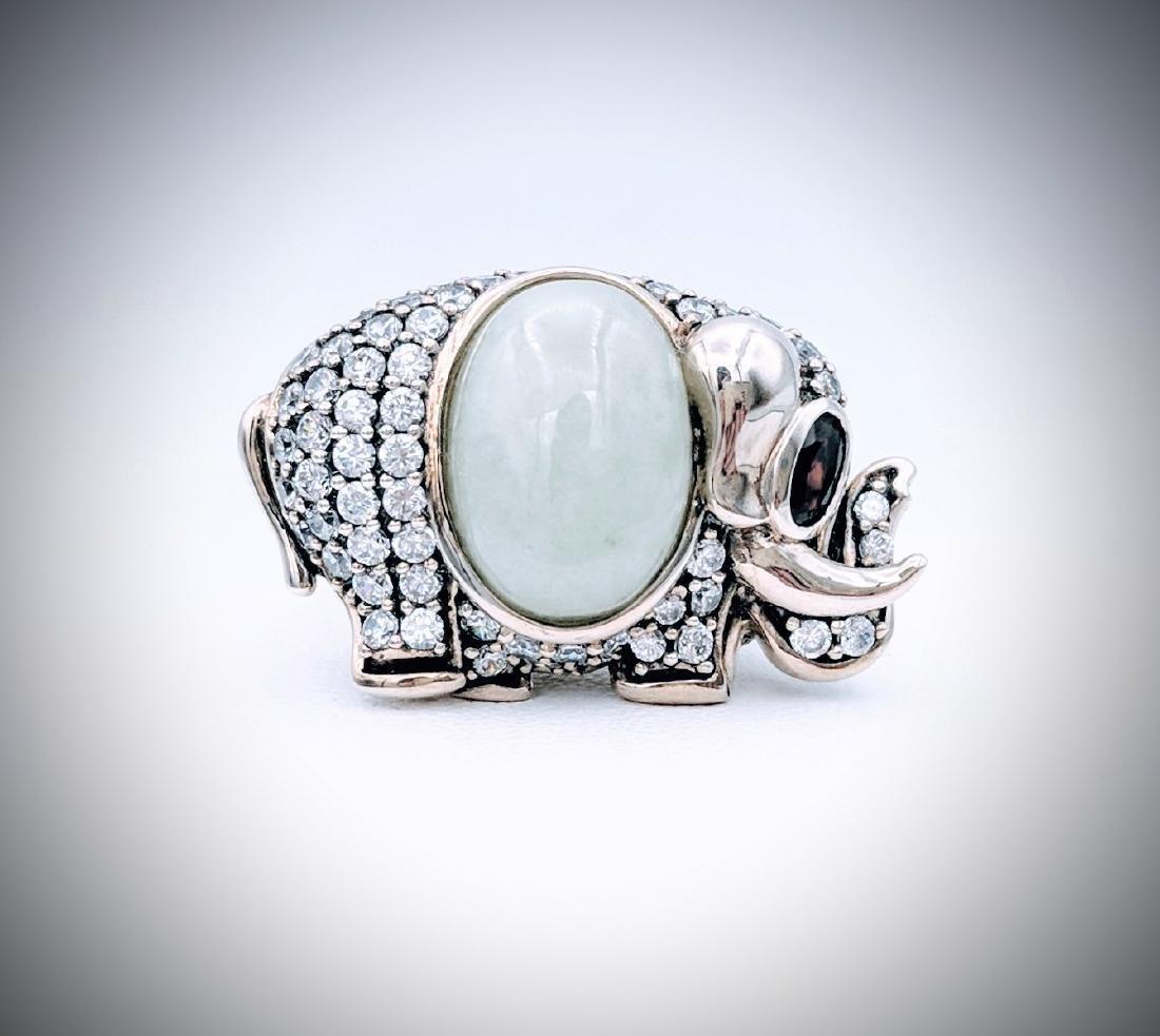 Sterling Silver Jade Garnet CZ Elephant Ring