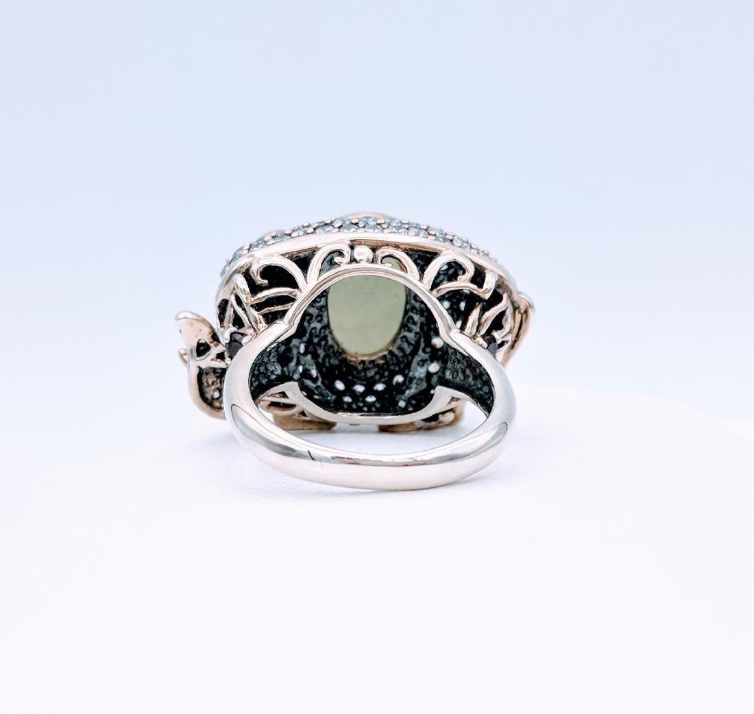 Sterling Silver Jade Garnet CZ Elephant Ring - 2