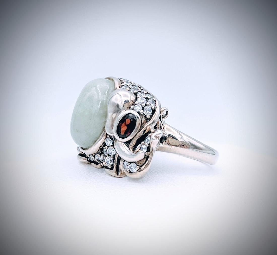 Sterling Silver Jade Garnet CZ Elephant Ring - 4