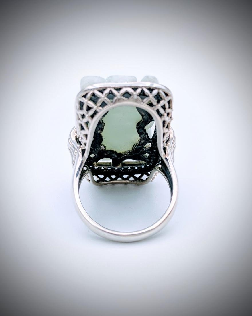 Sterling Silver Jade Engraved Ring with Cubic Zirconia - 2