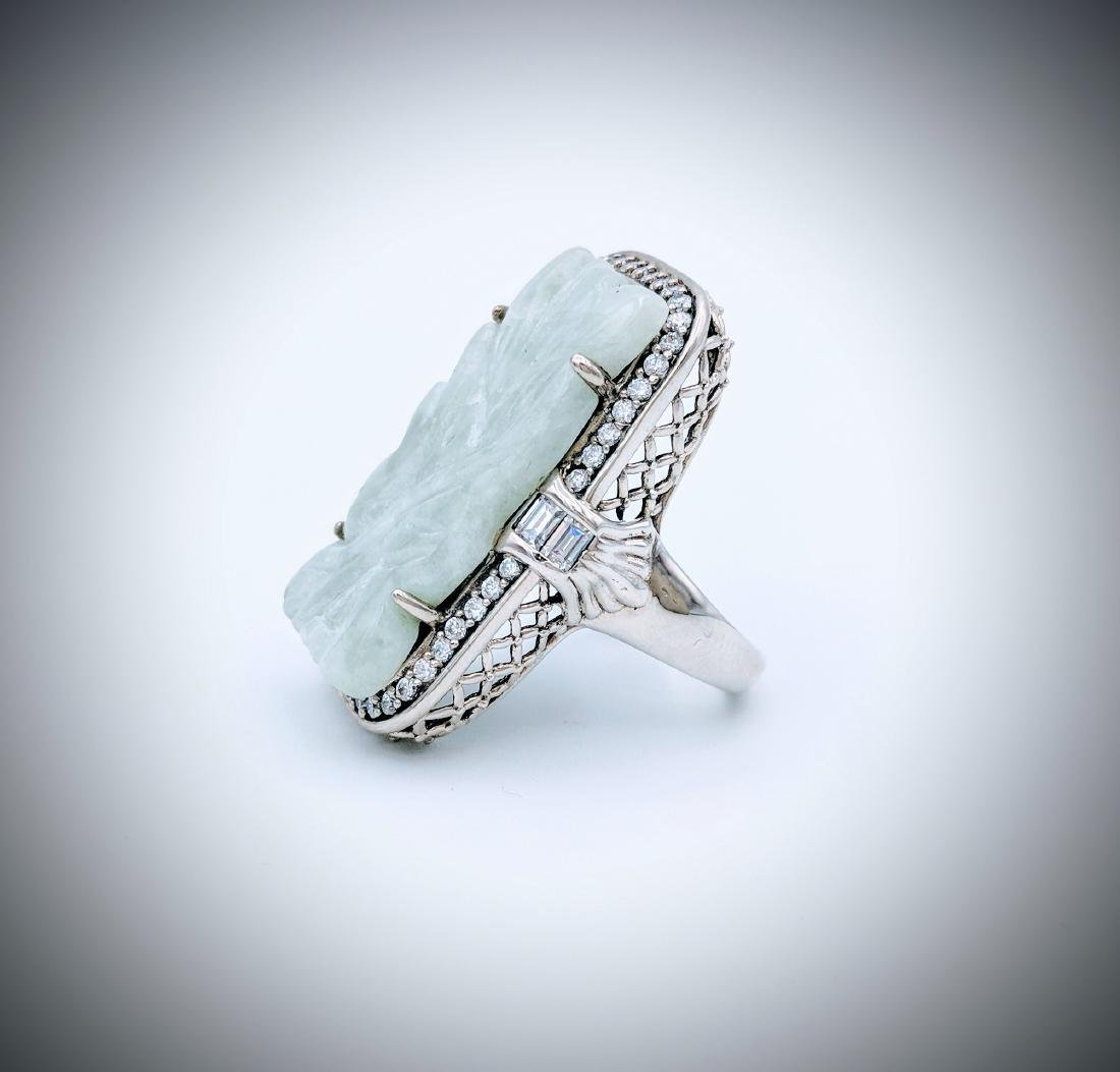 Sterling Silver Jade Engraved Ring with Cubic Zirconia - 3
