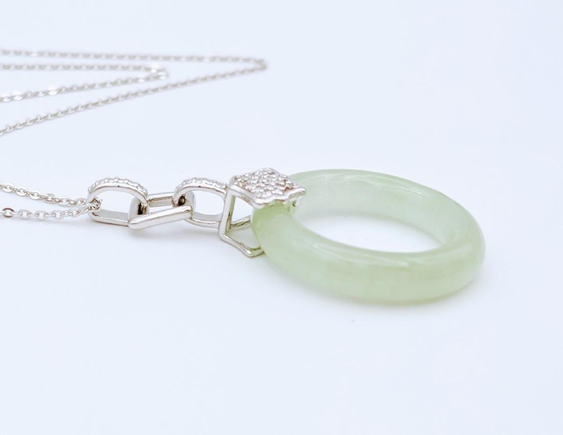 Sterling Silver Jade Loop Diamond Specks Necklace - 2