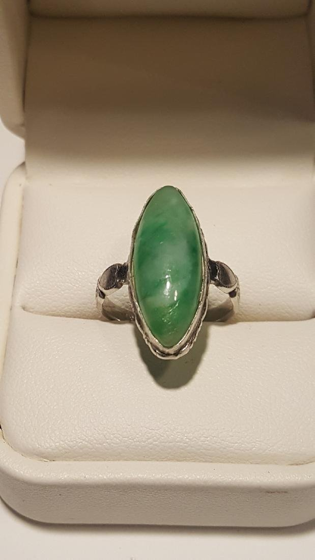 Marquise Jade Cabachon Sterling - 2