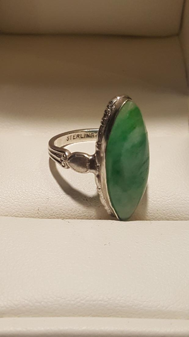 Marquise Jade Cabachon Sterling - 3