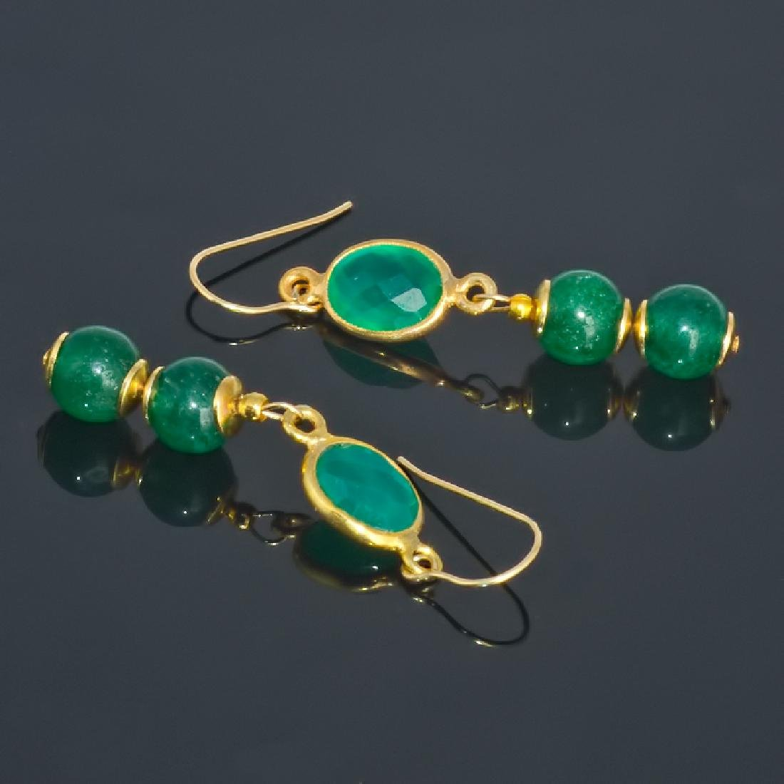 14K Art Deco Style Earrings with Jadeite Jade and