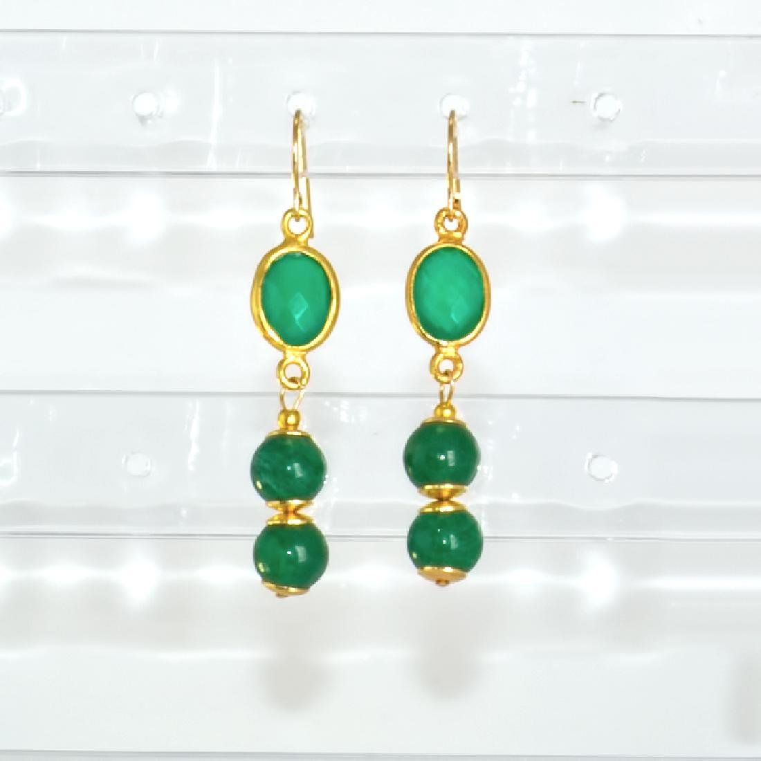 14K Art Deco Style Earrings with Jadeite Jade and - 2