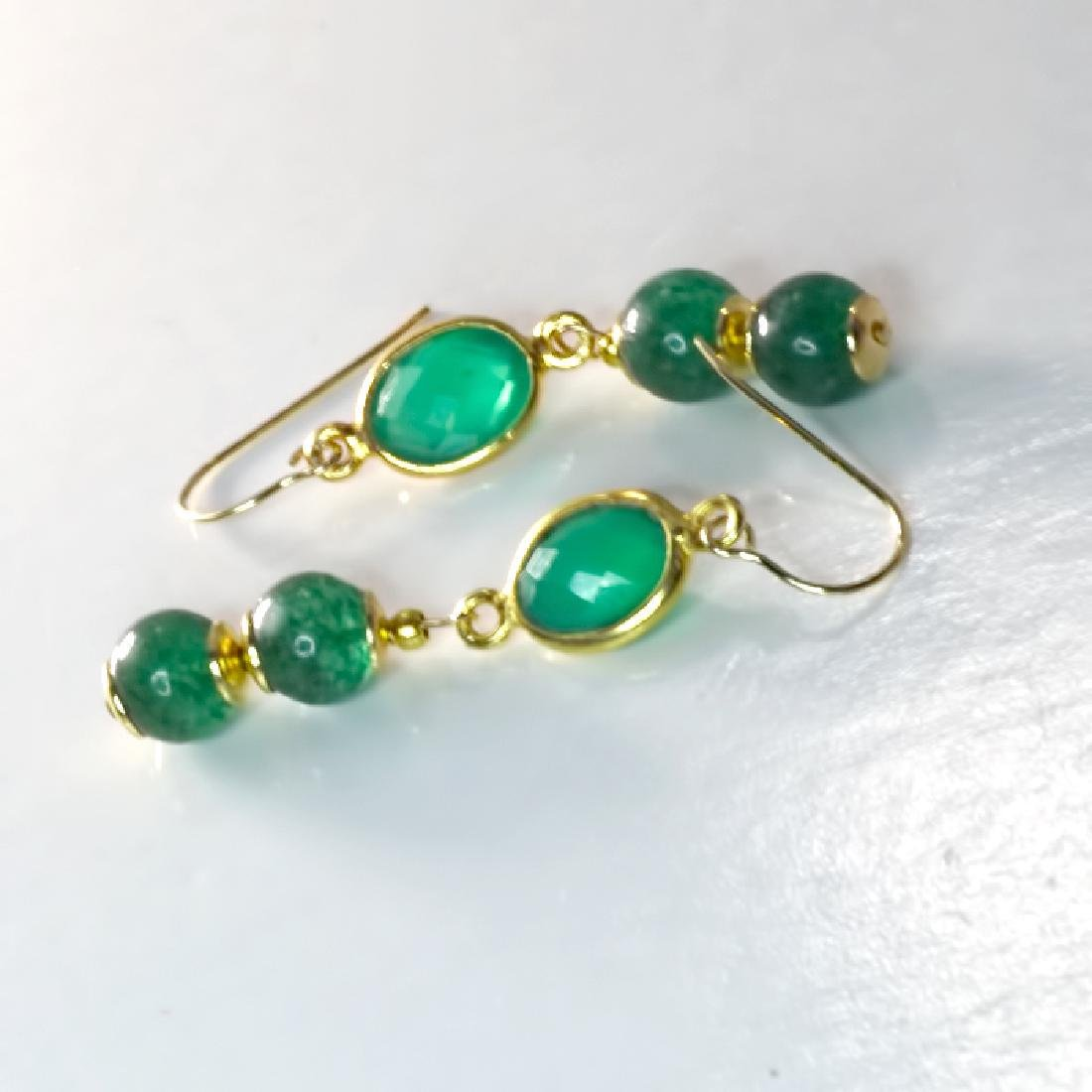 14K Art Deco Style Earrings with Jadeite Jade and - 3