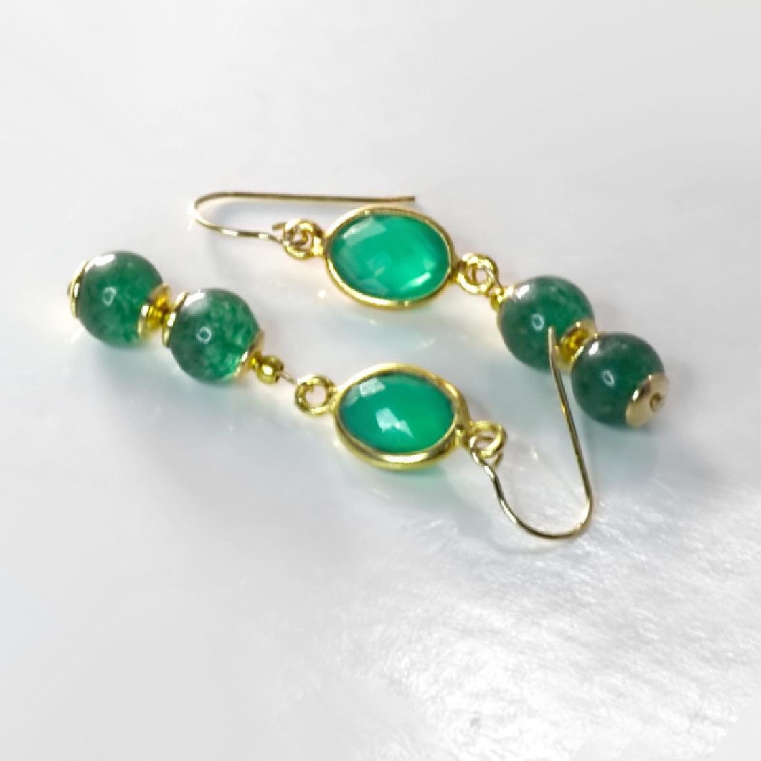 14K Art Deco Style Earrings with Jadeite Jade and - 4