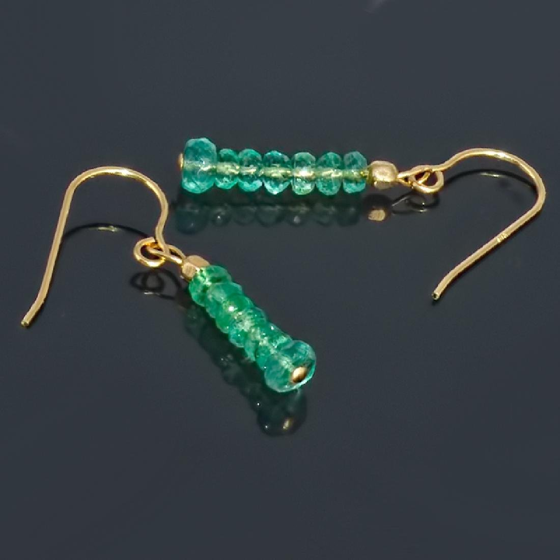 14K Earrings with Colombian Emeralds - 2