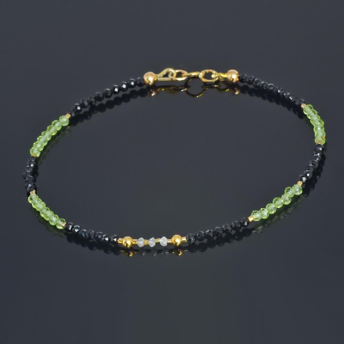 Spinel and Peridot bracelet with Diamonds 0.2 carat