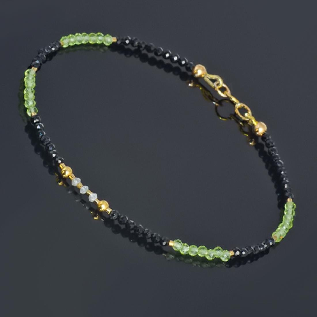 Spinel and Peridot bracelet with Diamonds 0.2 carat - 3