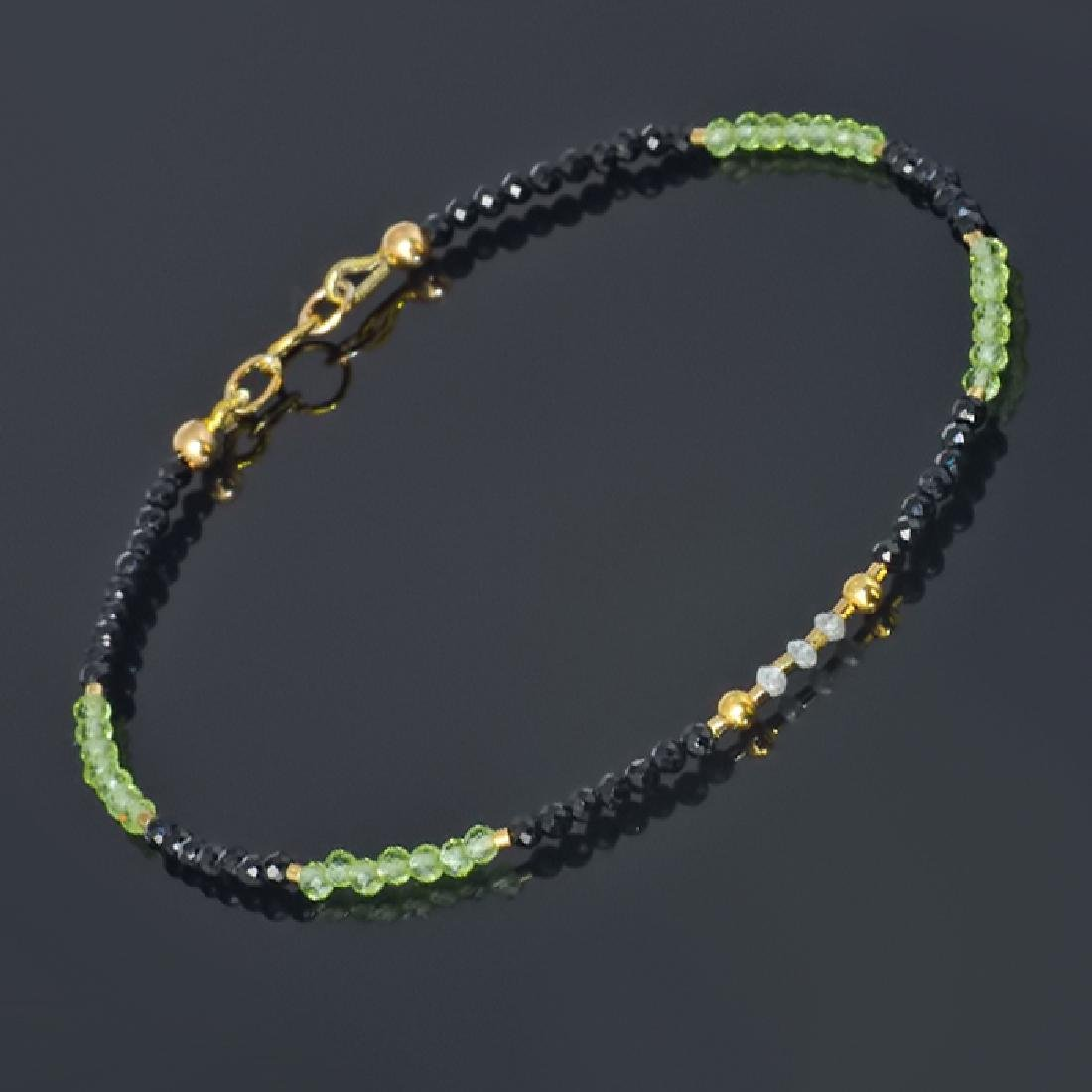 Spinel and Peridot bracelet with Diamonds 0.2 carat - 4