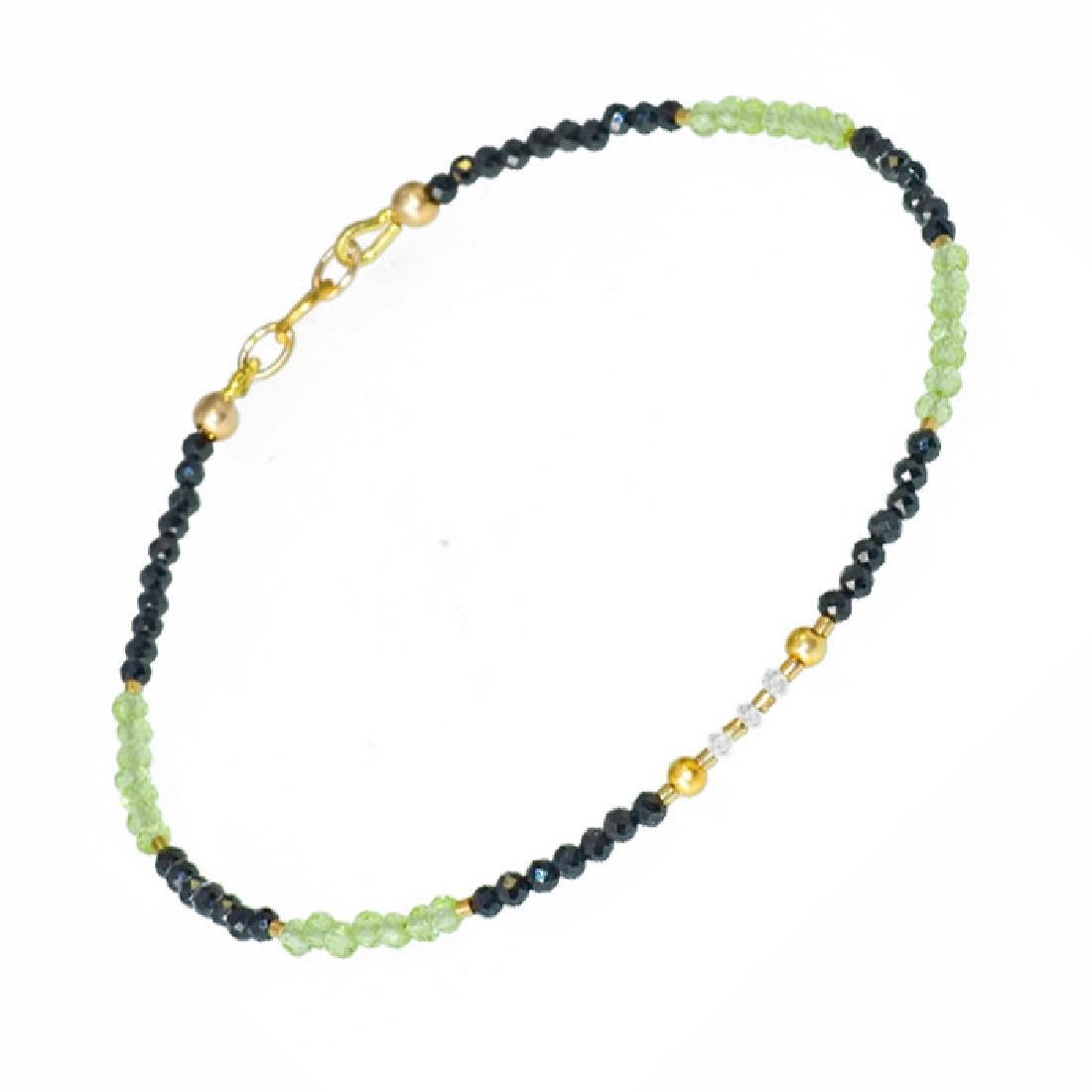 Spinel and Peridot bracelet with Diamonds 0.2 carat - 5