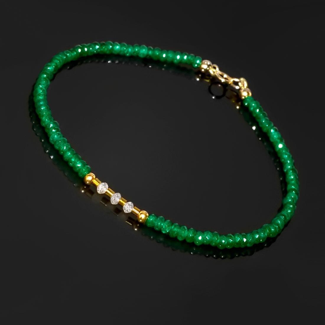 14K Retro Style Precious Jadeite Jade bracelet with - 3