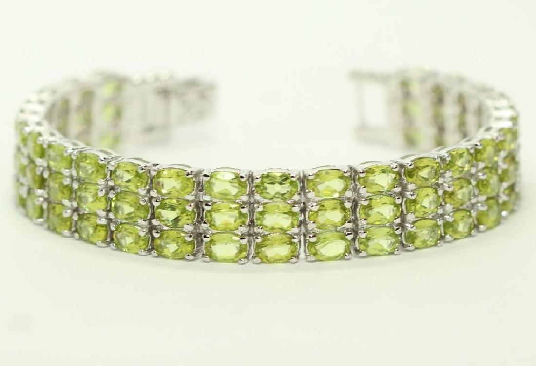 Sterling silver bracelet with natural Peridot - 2