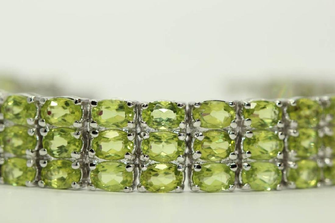 Sterling silver bracelet with natural Peridot - 4