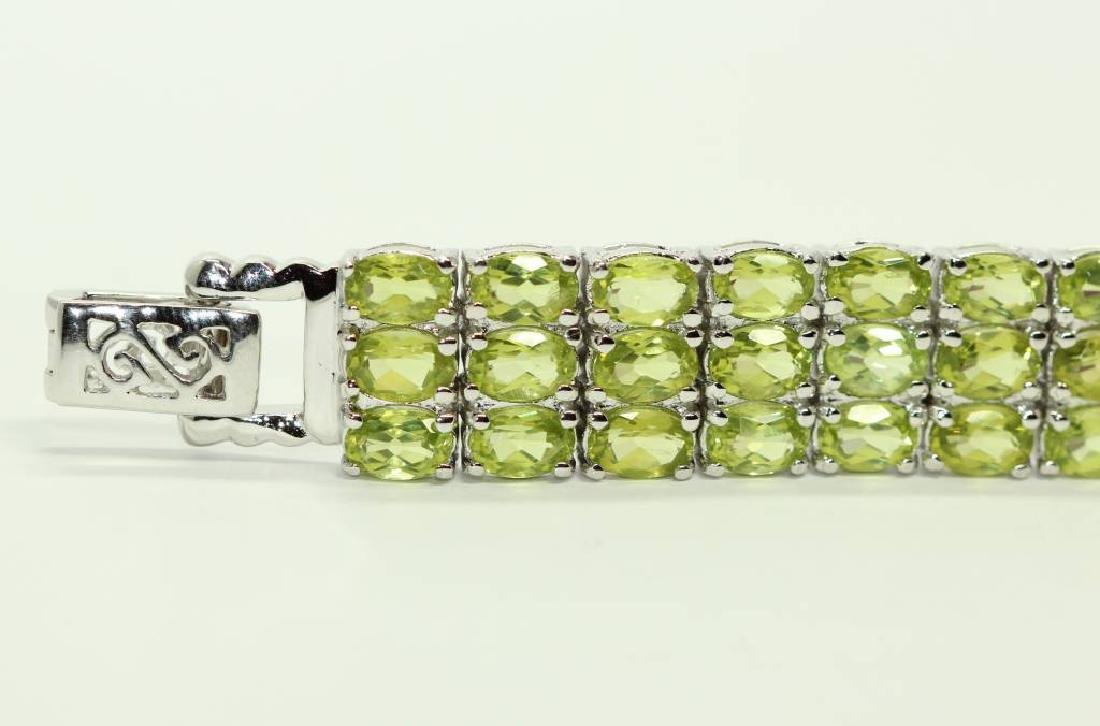 Sterling silver bracelet with natural Peridot - 5