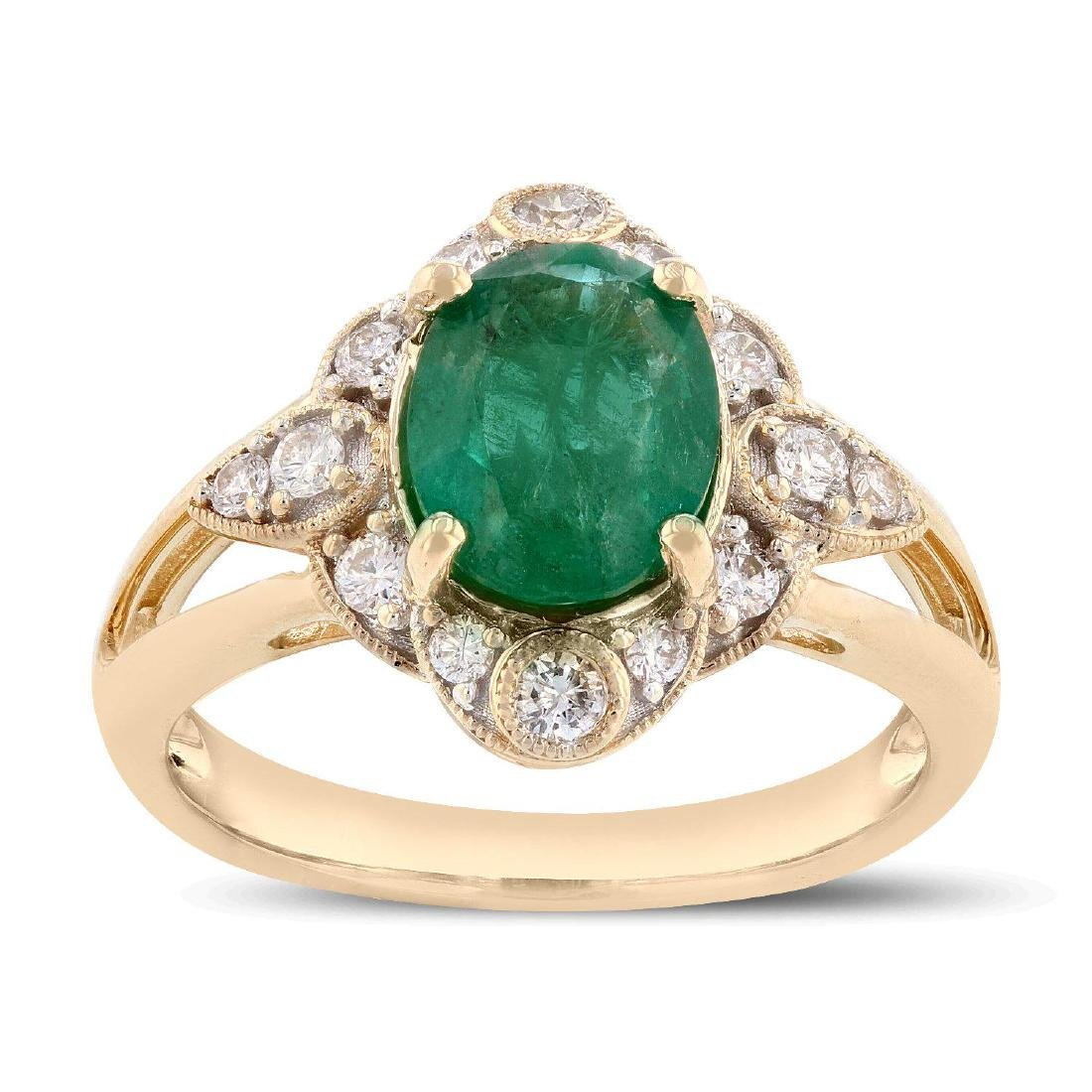 1.68ct Emerald and 0.33ctw Diamond 14K Yellow Gold Ring