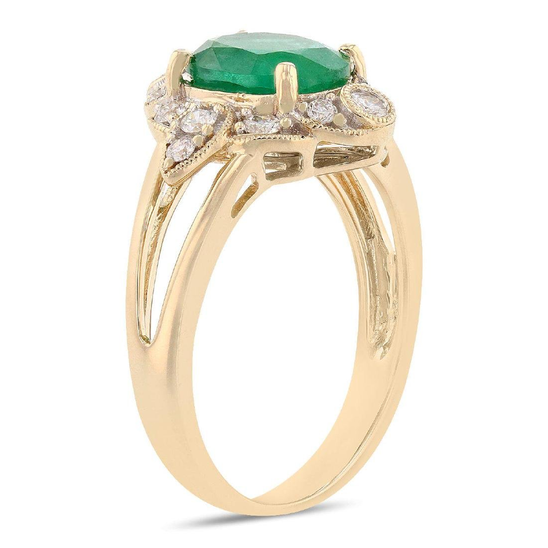 1.68ct Emerald and 0.33ctw Diamond 14K Yellow Gold Ring - 3