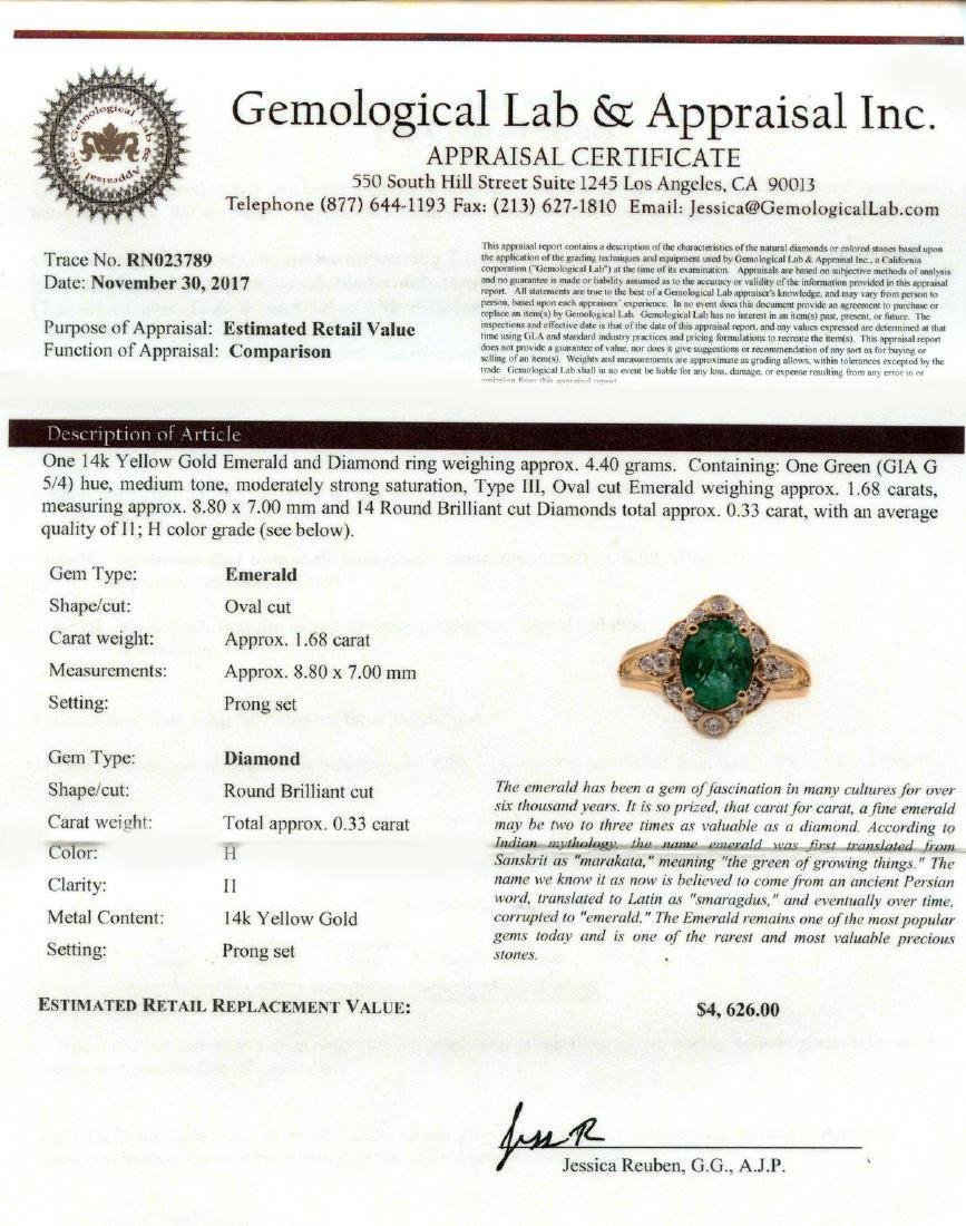 1.68ct Emerald and 0.33ctw Diamond 14K Yellow Gold Ring - 4