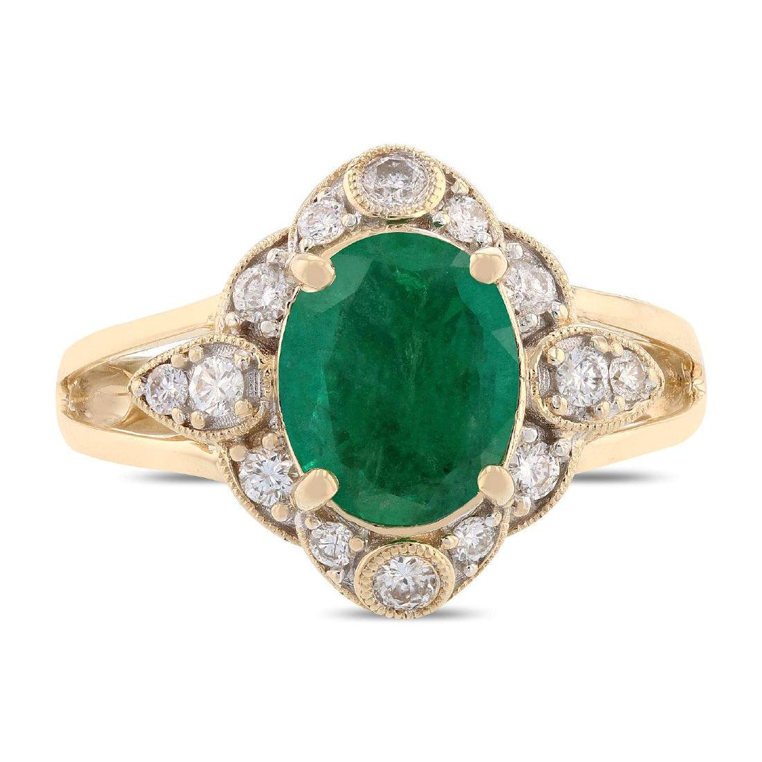 1.68ct Emerald and 0.33ctw Diamond 14K Yellow Gold Ring - 6