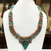 Natural Ethnic Tibetan Turquoise Coral Necklace