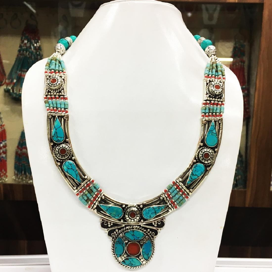 Tibetan Silver Turquoise Beads Necklace
