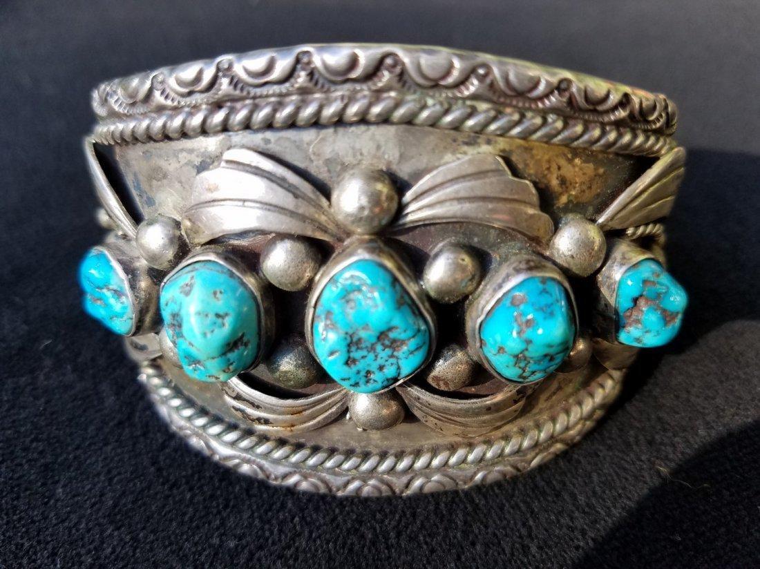 Arizona Silver Men's Cuff with 5 Vibrant Aqua Blue