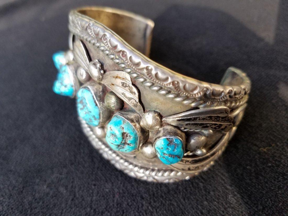 Arizona Silver Men's Cuff with 5 Vibrant Aqua Blue - 5