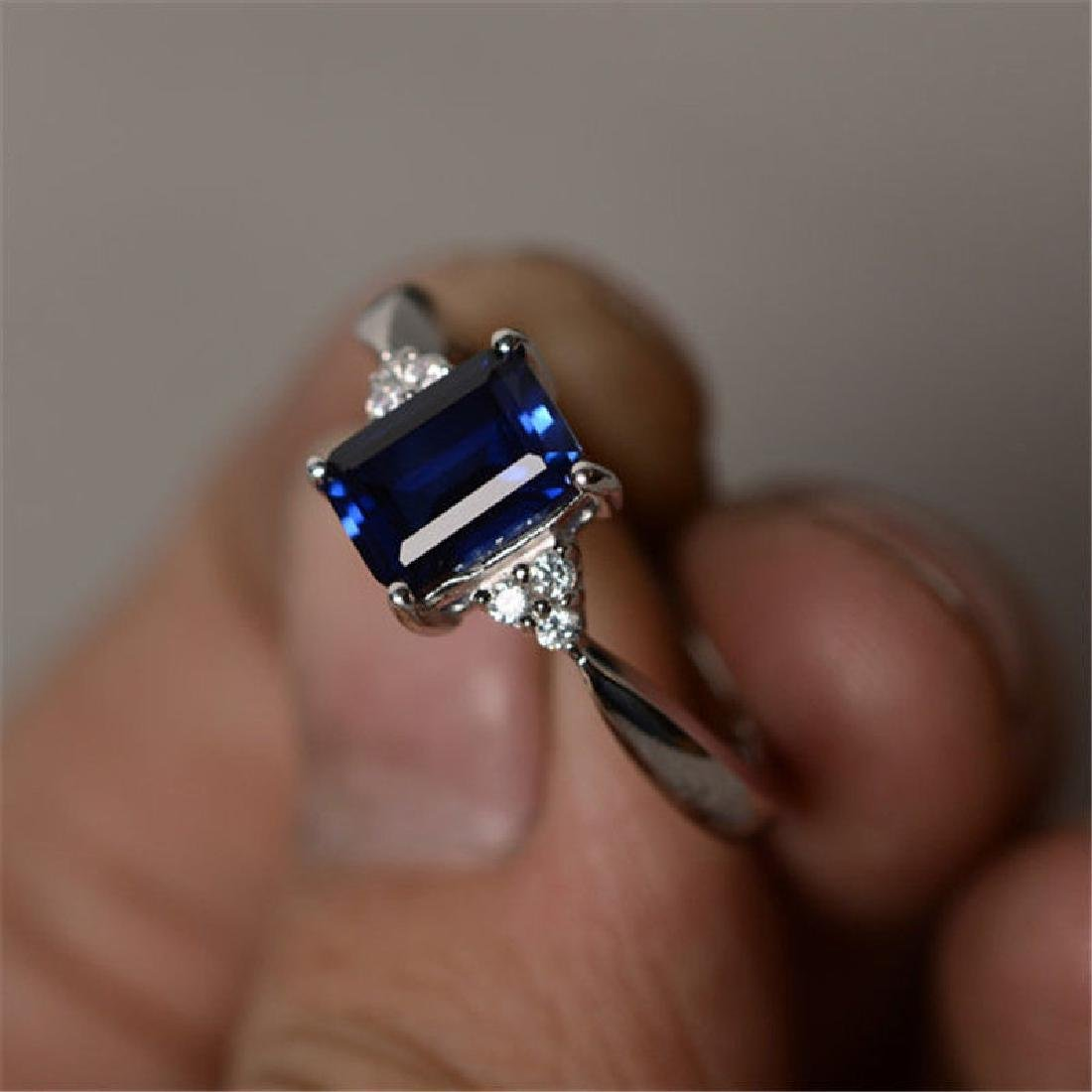 925 Sliver Sapphire Ring Size 8