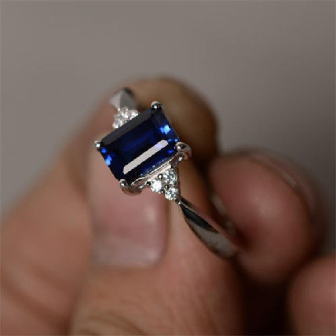 925 Sliver Sapphire Ring Size 8 - 3