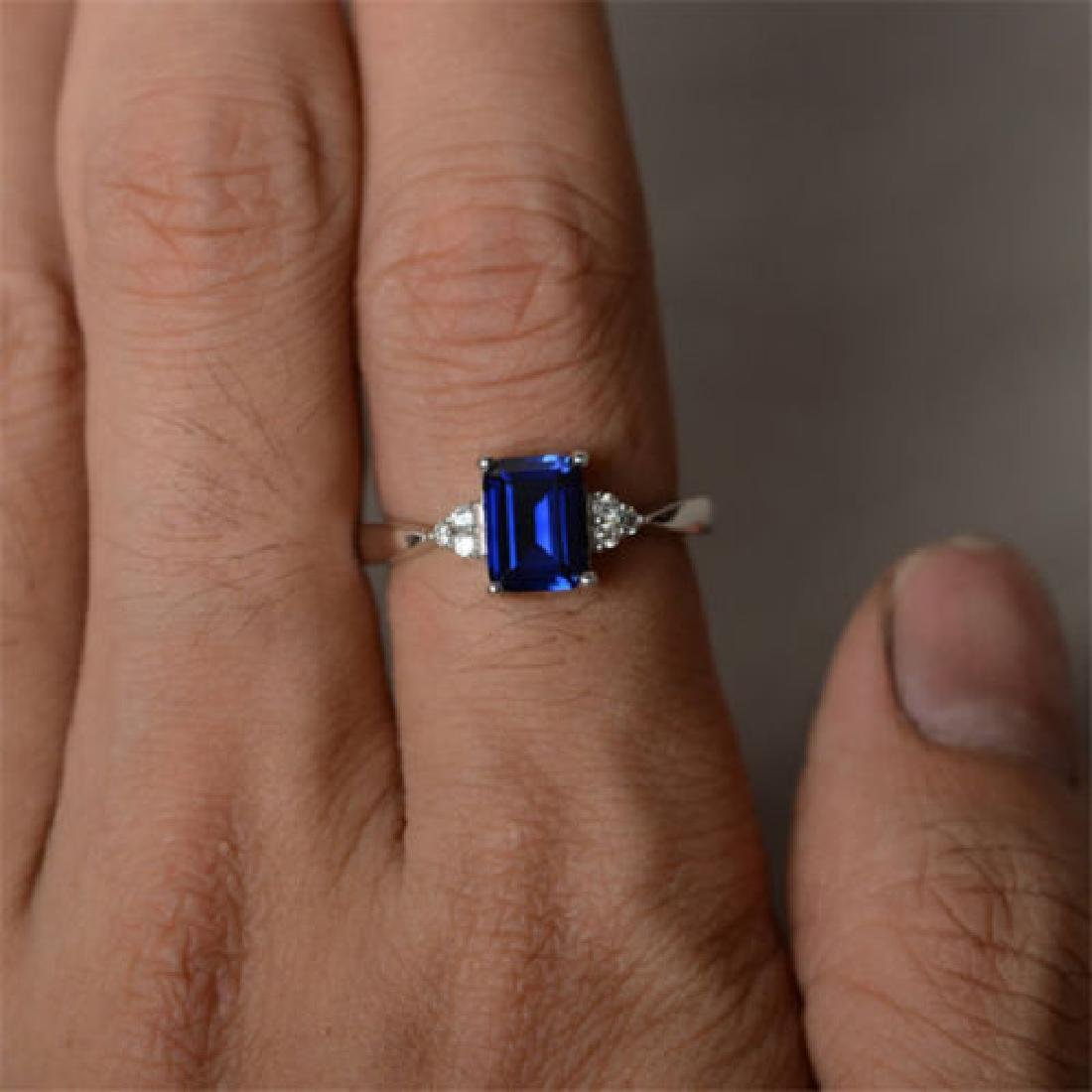 925 Sliver Sapphire Ring Size 8 - 4