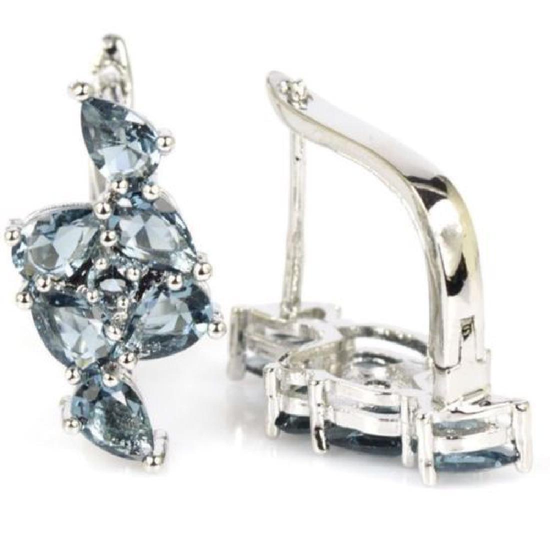 London Blue Topaz Silver Earrings - 2