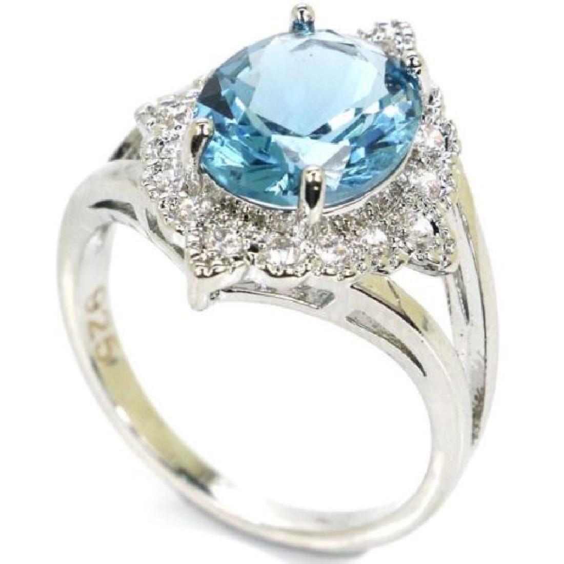 Luxury London Blue Topaz Silver Ring Us sz9.25 - 2