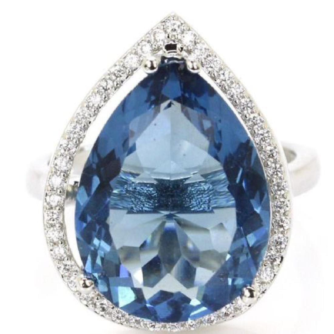 London Blue Topaz Silver Ring Us sz9.5